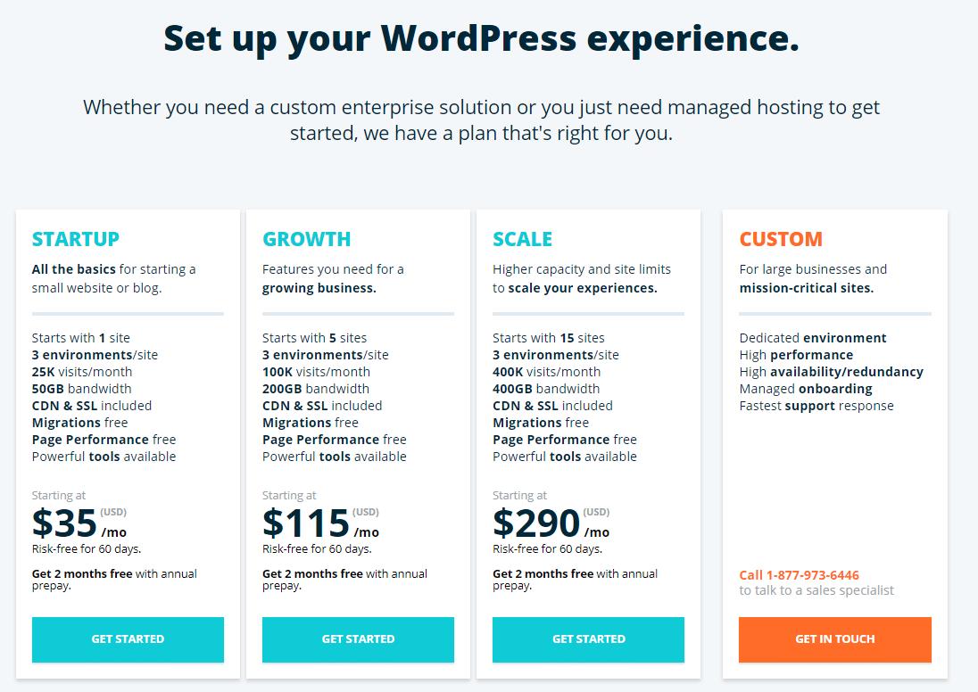 wpengine hosting plans