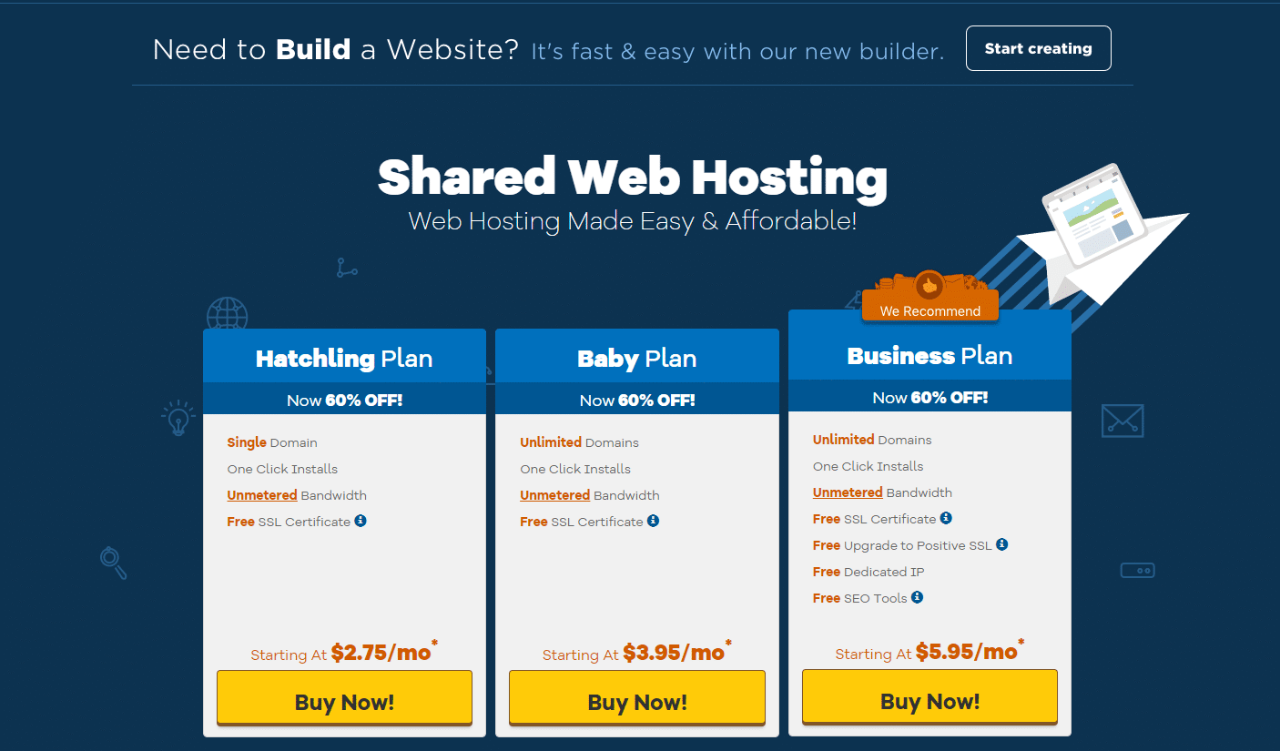 hostgator shared hosting plans