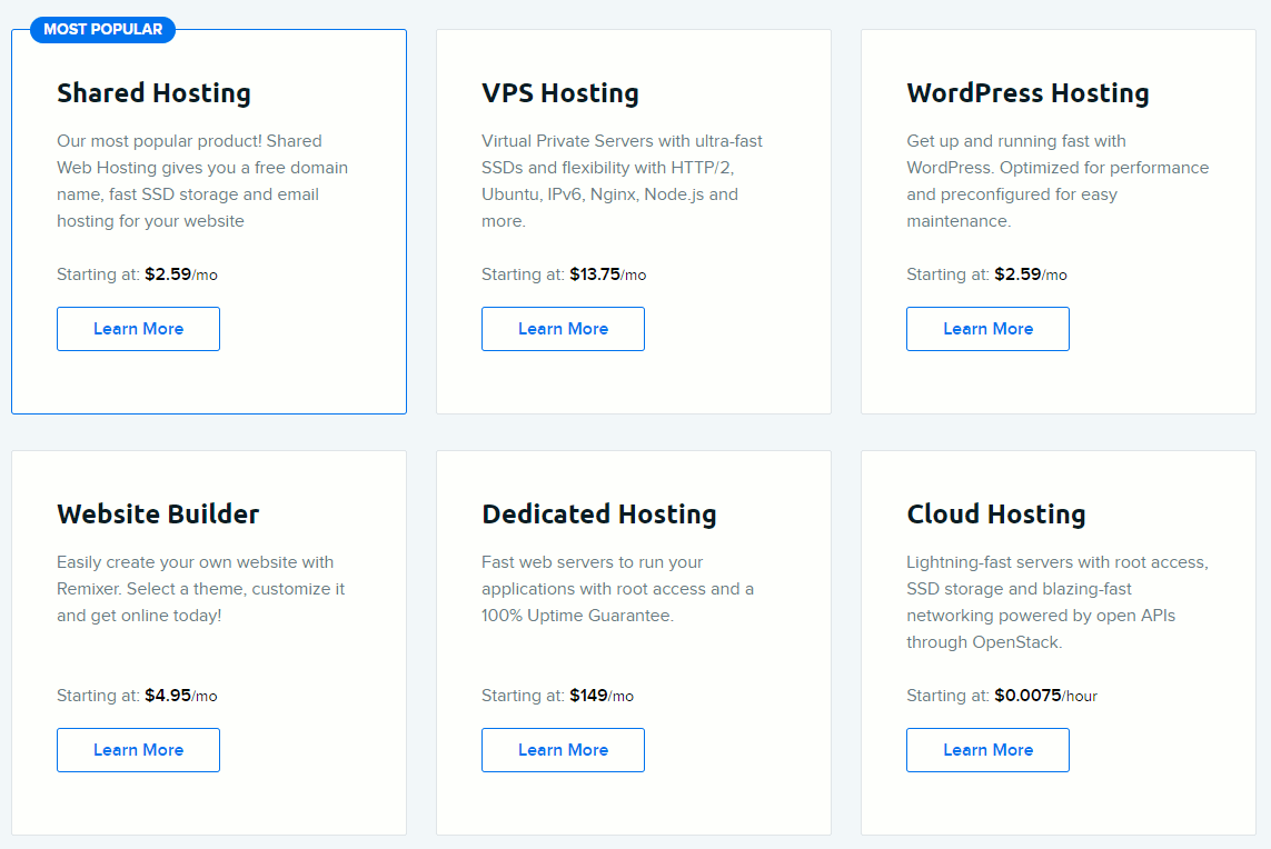 dreamhost web hosting plans compared