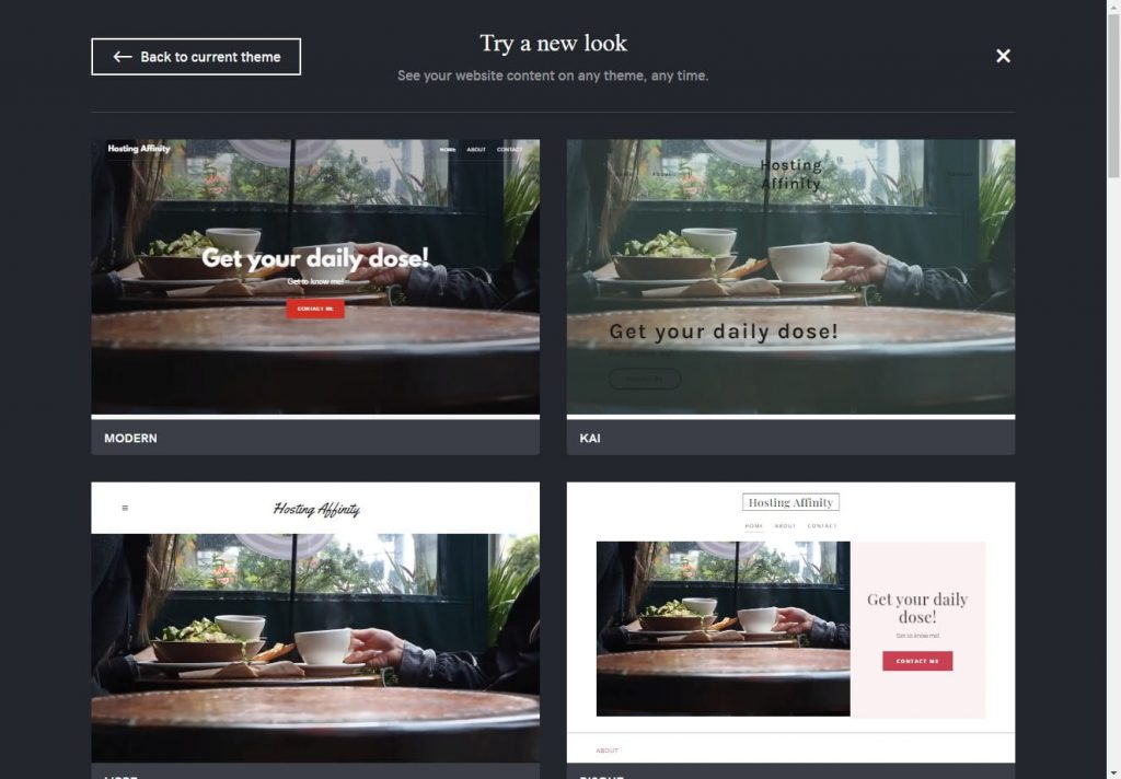 godaddy website builder themes